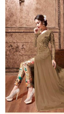 Dashing Brown  Floral Lehenga Trouser Suit